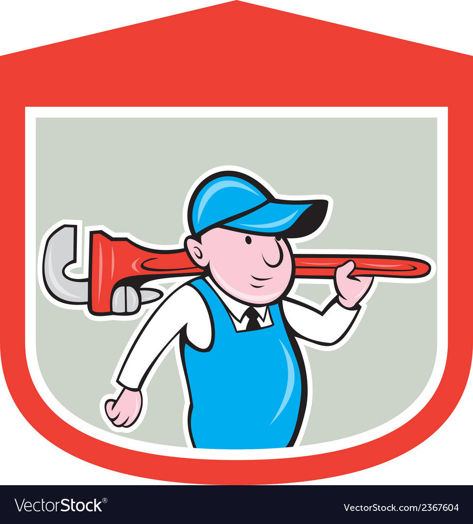 Plumber holding big monkey wrench shield cartoon vector | Price: 1 Credit (USD $1)