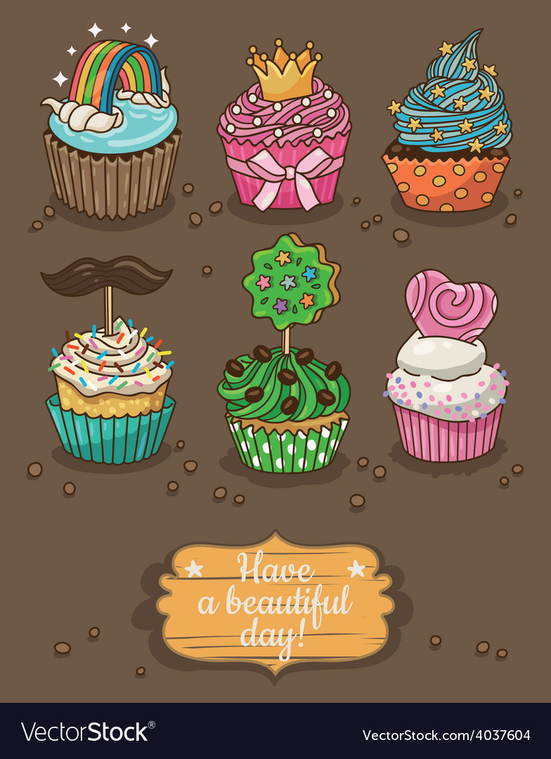 Set of delicious cupcakes with different toppings vector | Price: 1 Credit (USD $1)