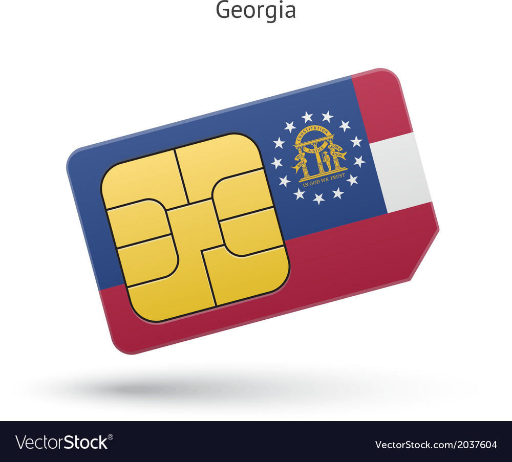 State of georgia phone sim card with flag vector   Price: 1 Credit (USD $1)