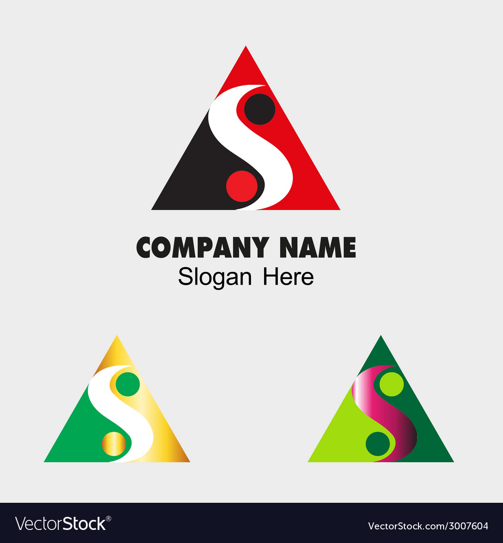 Triangle sign with s letter and ying yang icon vector   Price: 1 Credit (USD $1)