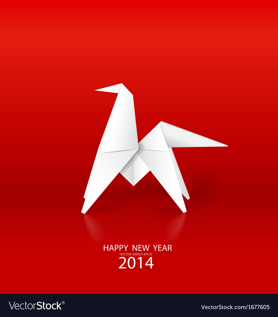 2014 happy new year greeting card origami paper vector | Price: 1 Credit (USD $1)
