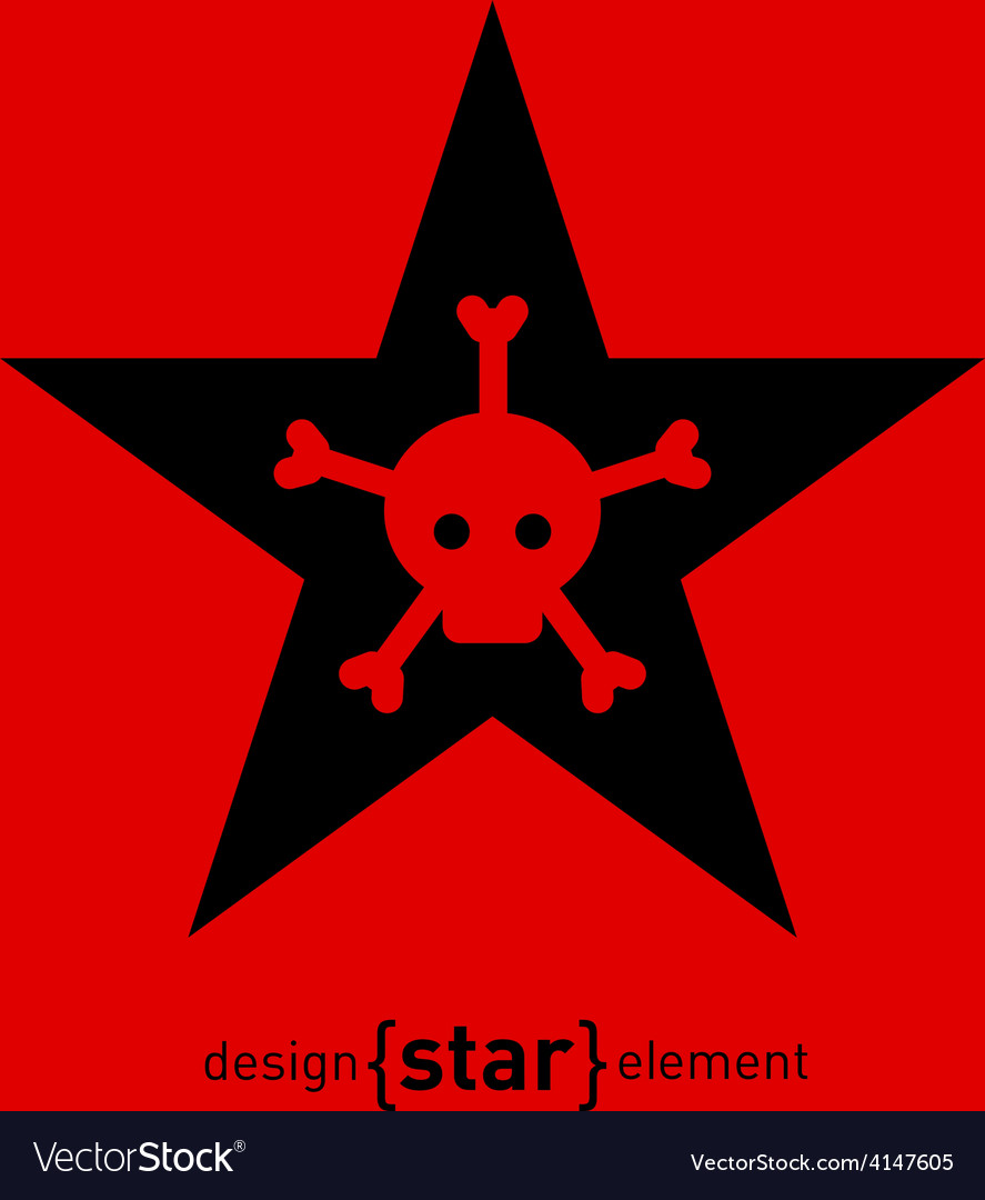 Abstract design element star with skull and bones vector | Price: 1 Credit (USD $1)