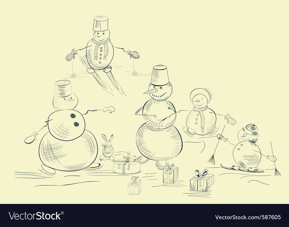 Card with snowmans vector | Price: 1 Credit (USD $1)