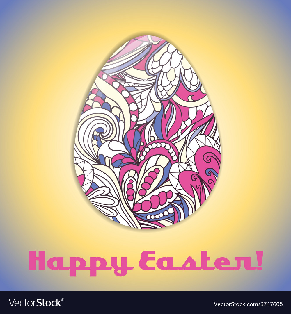 Easter egg greeting card with abstract hand drawn vector   Price: 1 Credit (USD $1)