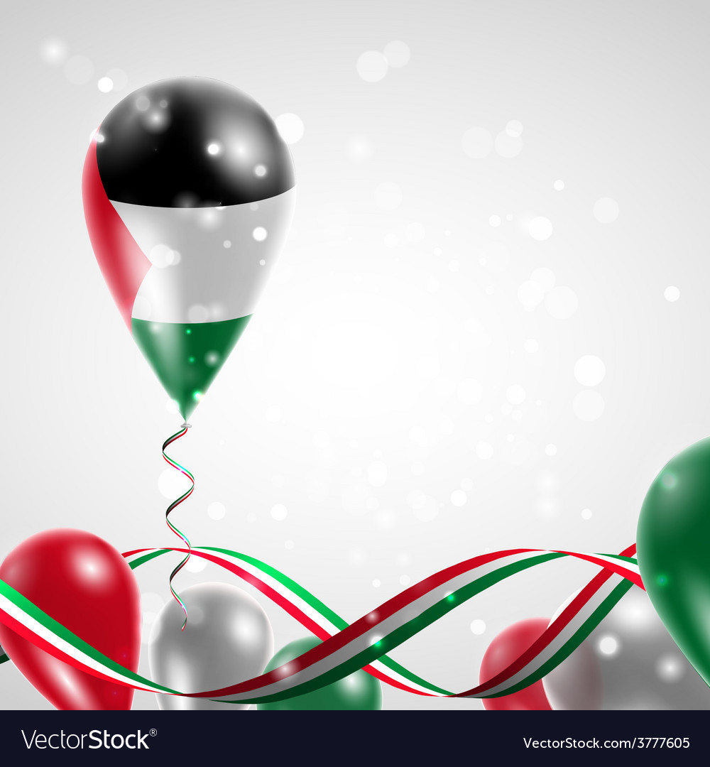 Flag of palestine on balloon vector | Price: 3 Credit (USD $3)