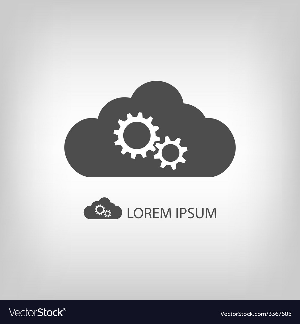 Grey cloud with gear wheels vector | Price: 1 Credit (USD $1)