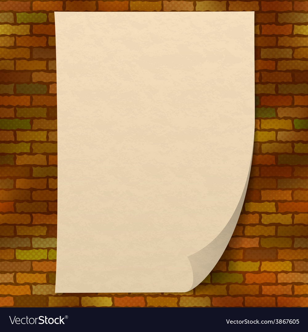 Paper sheet on brick wall vector | Price: 1 Credit (USD $1)