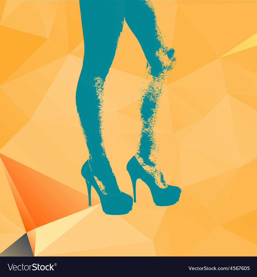 Print legs of fashion girl on contemporary orange vector | Price: 1 Credit (USD $1)