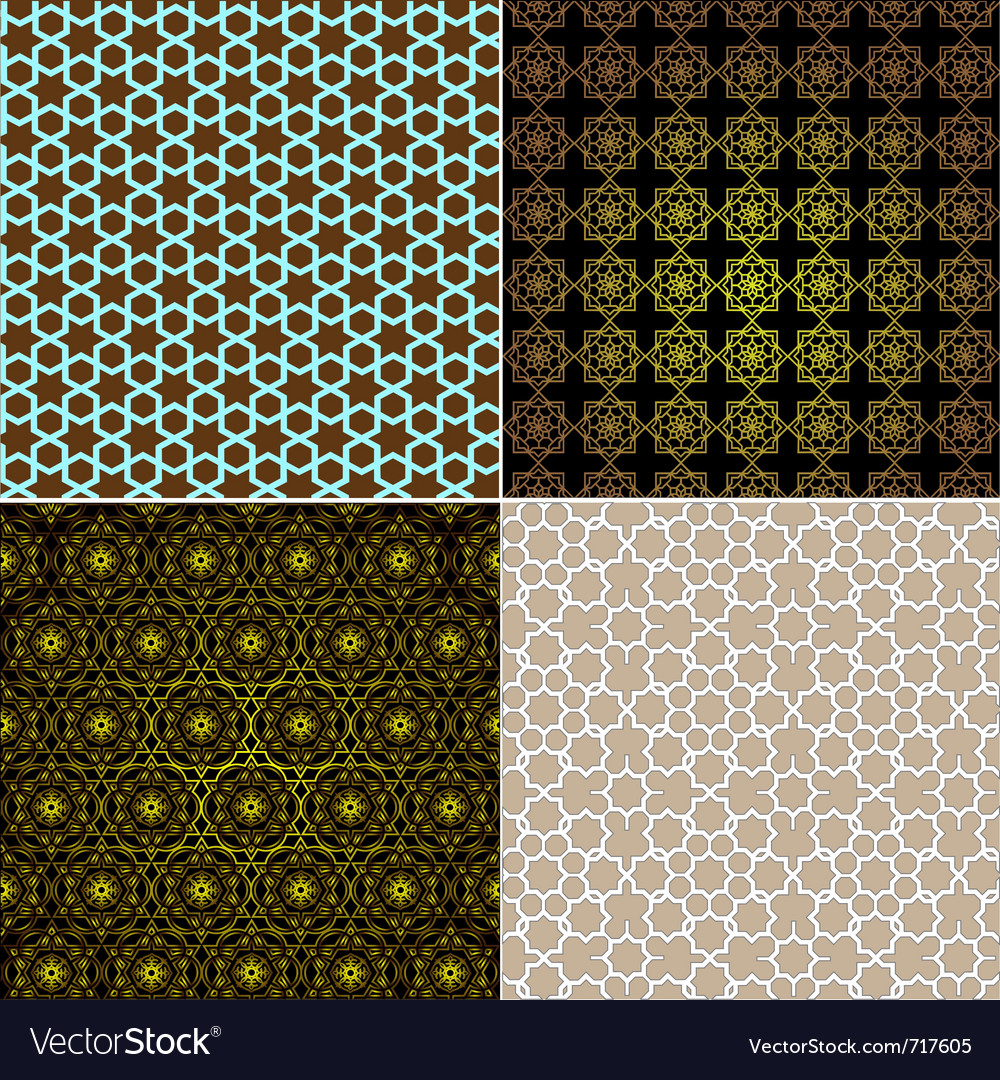 Seamless patterns in islamic style set vector | Price: 1 Credit (USD $1)