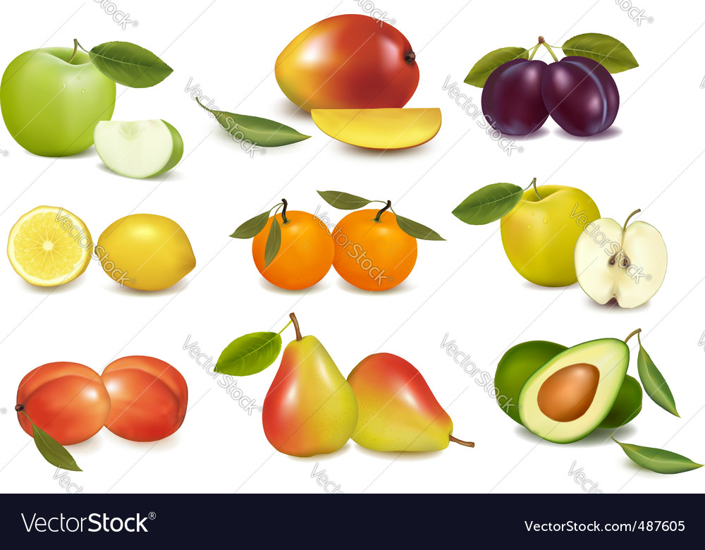 Set of sweet fruit vector | Price: 3 Credit (USD $3)