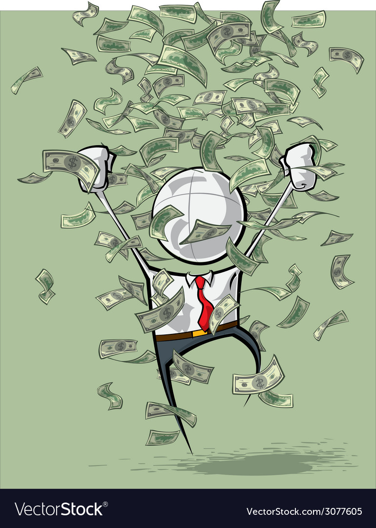 Simple business people money rain vector | Price: 1 Credit (USD $1)