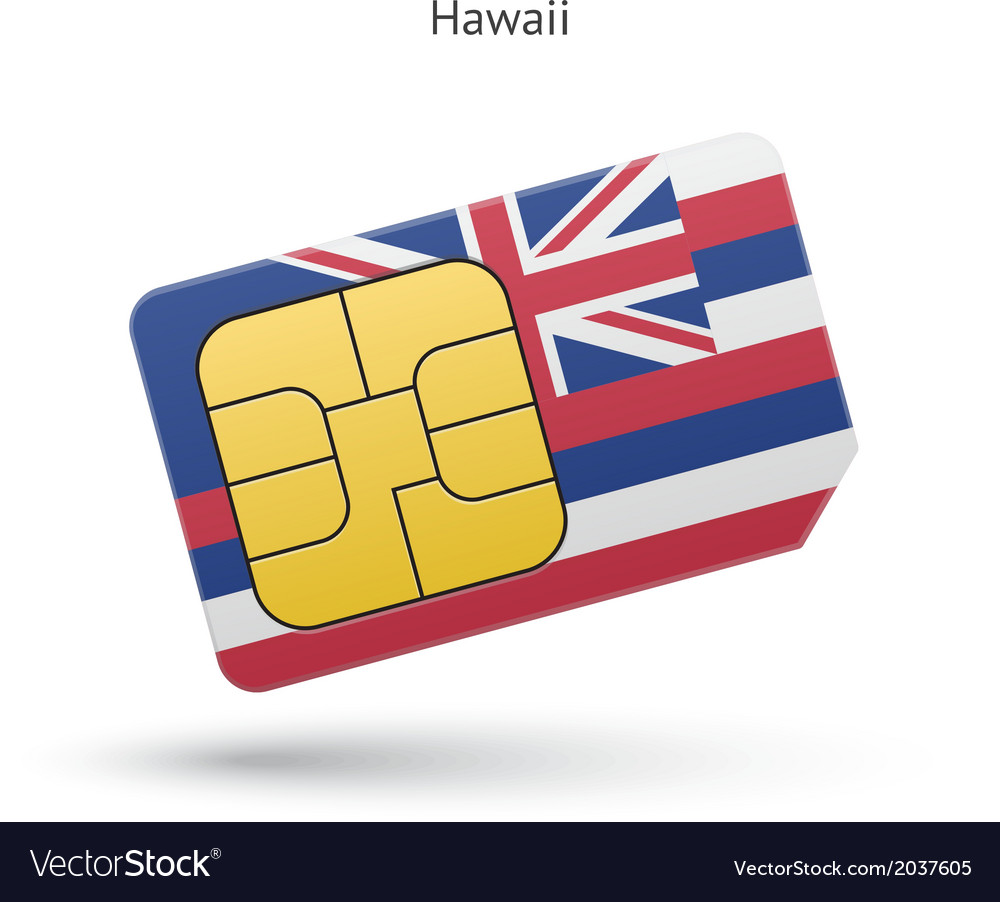 State of hawaii phone sim card with flag vector | Price: 1 Credit (USD $1)