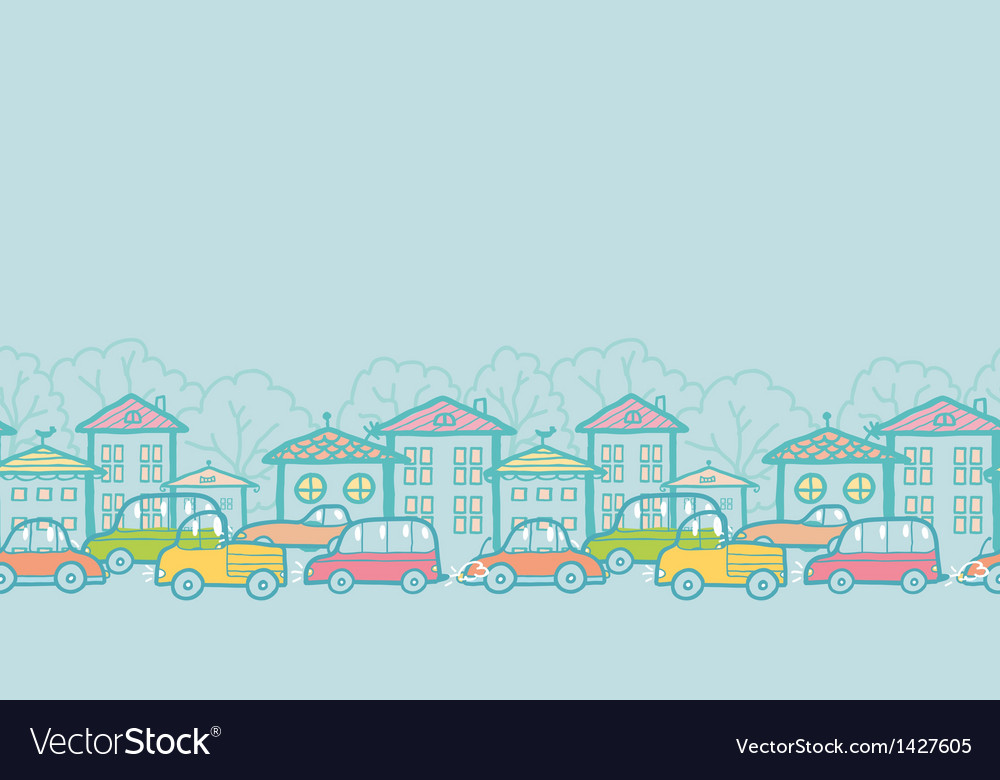 Town street horizontal seamless pattern background vector | Price: 1 Credit (USD $1)