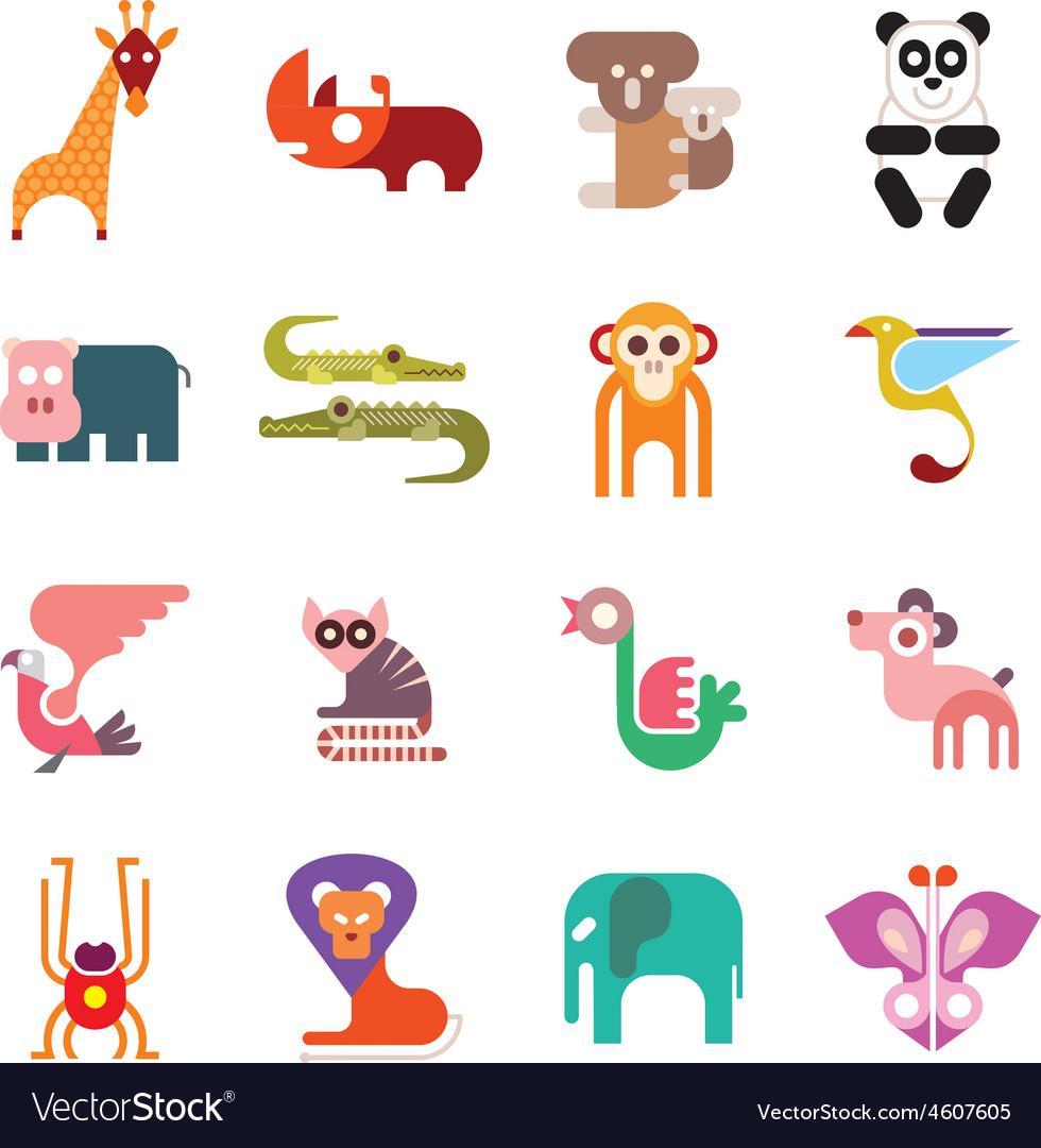 Zoo animal icos vector