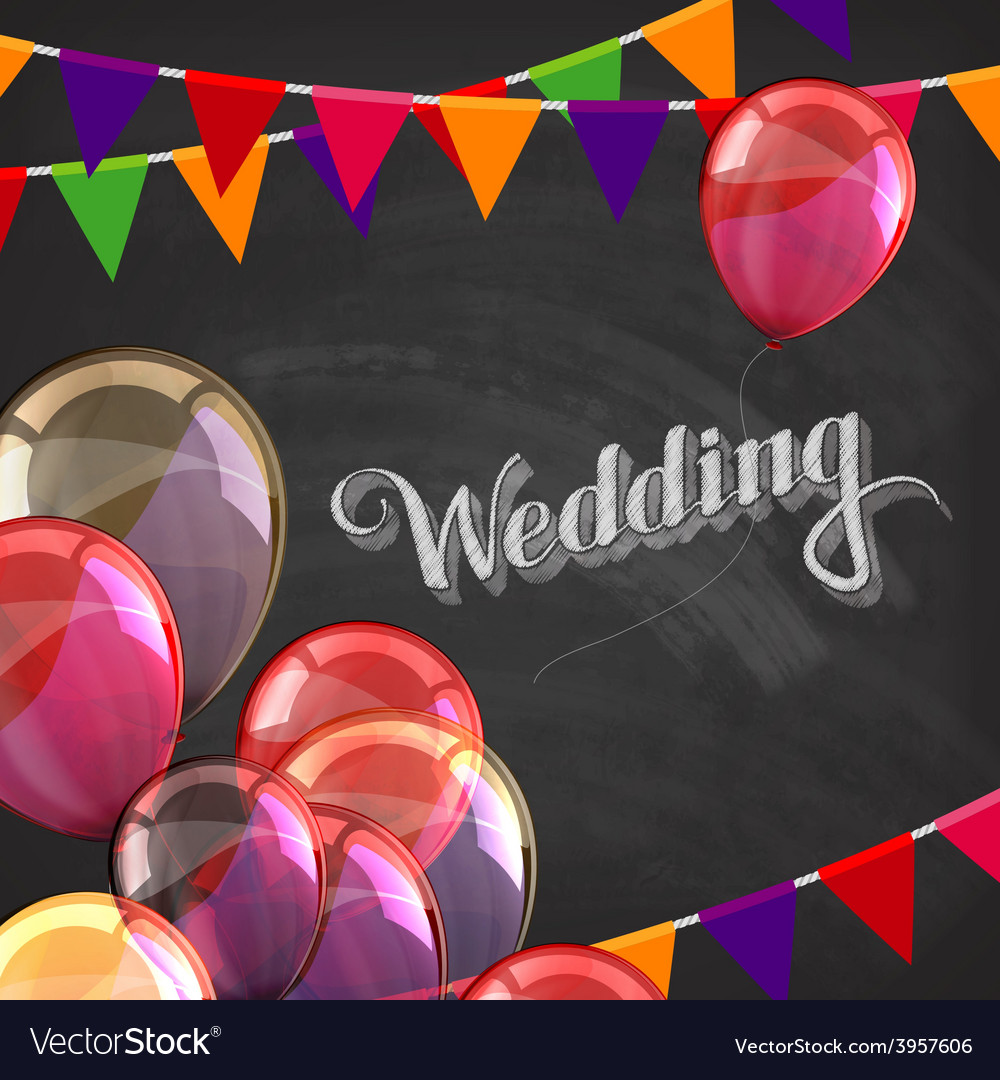 Chalk of wedding label with balloons vector | Price: 3 Credit (USD $3)