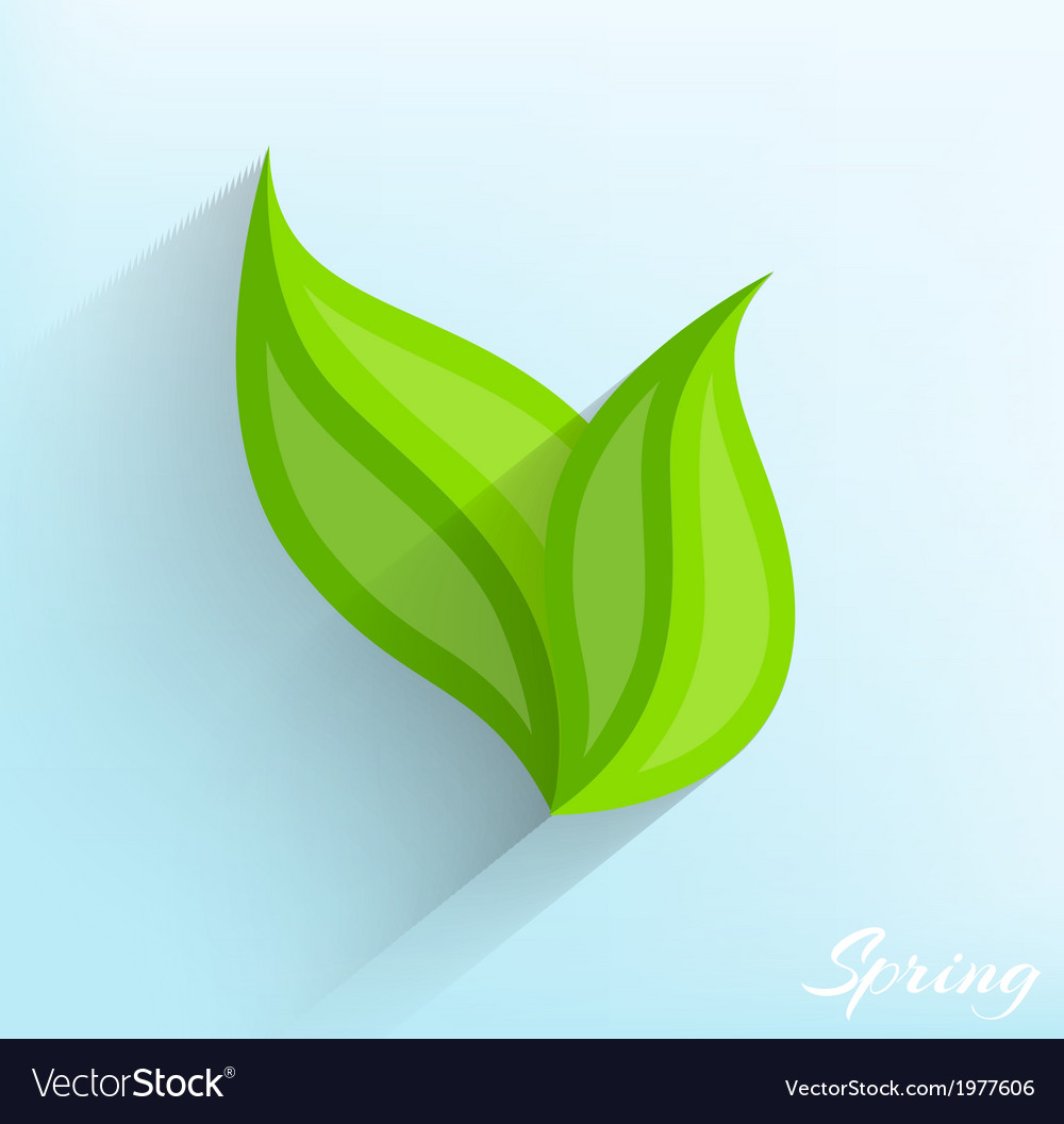 Green leaves in flat style vector | Price: 1 Credit (USD $1)