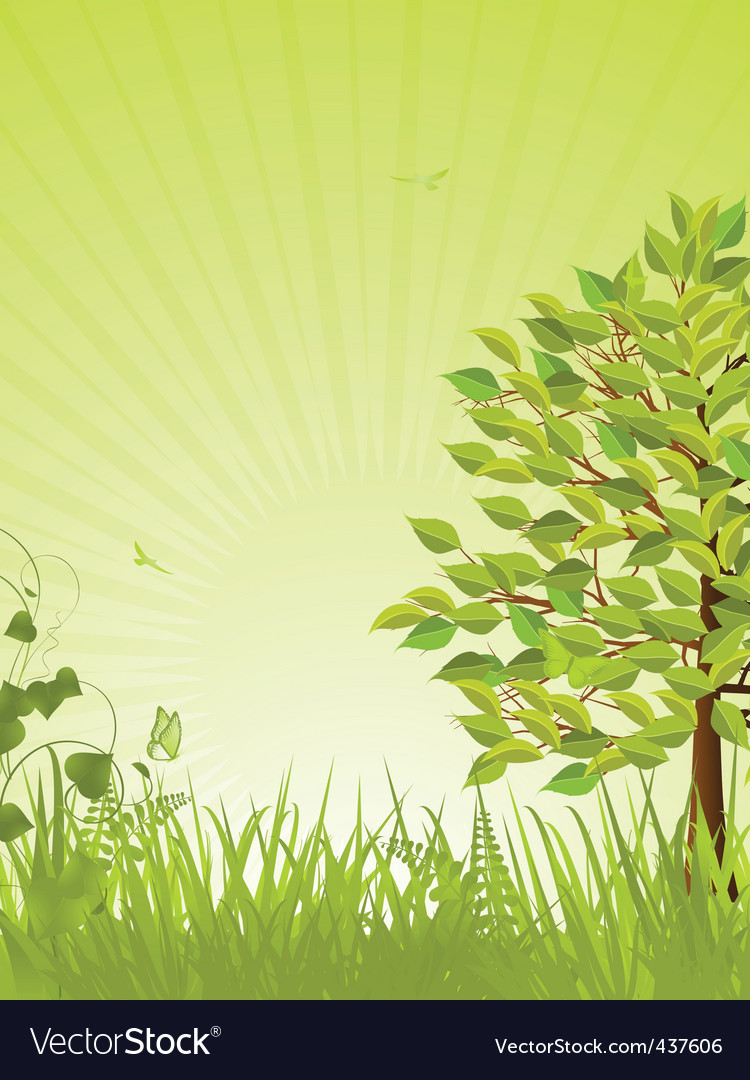 Green tranquil background and tree vector | Price: 1 Credit (USD $1)