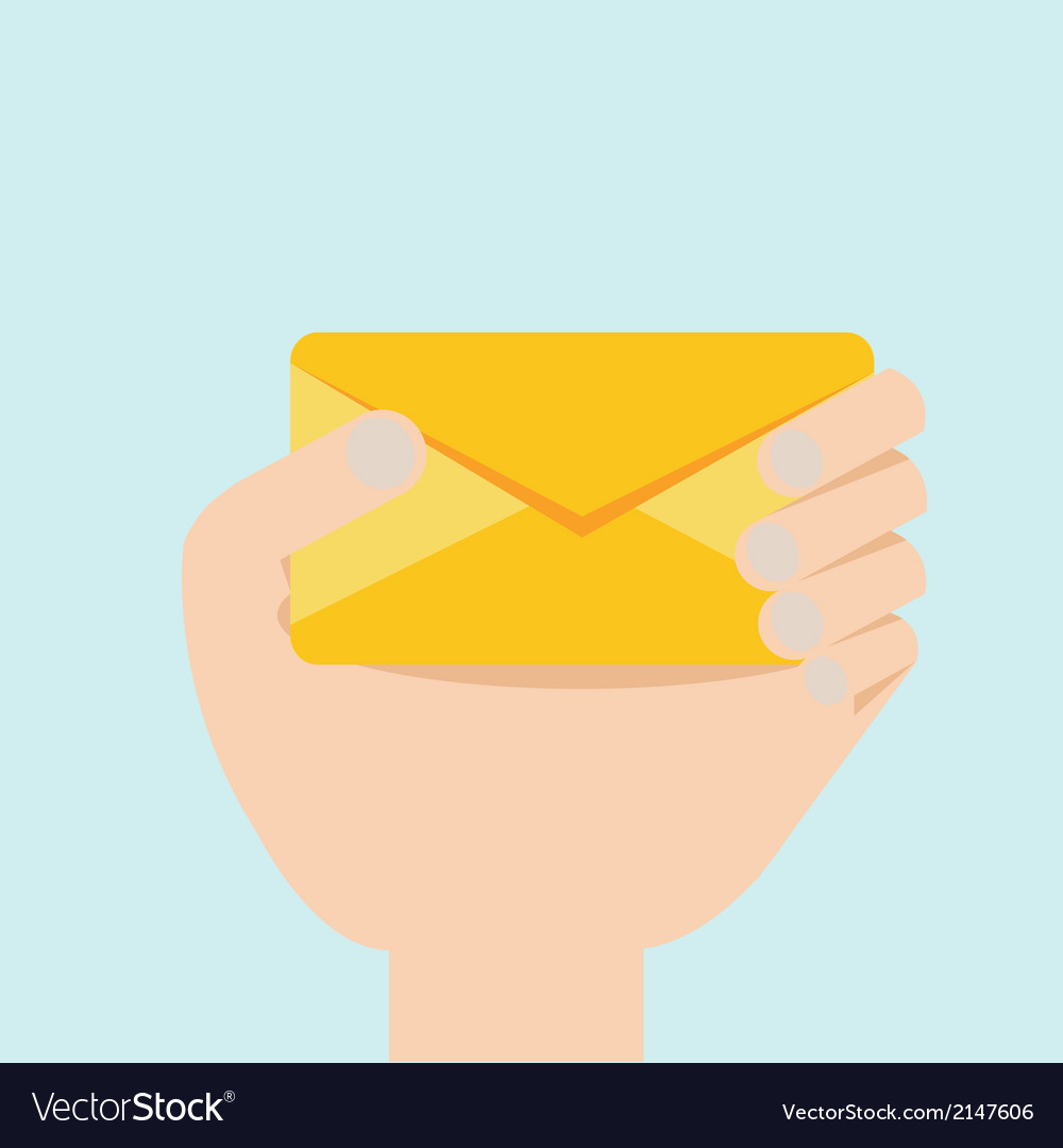 Hand with envelop flat design vector | Price: 1 Credit (USD $1)