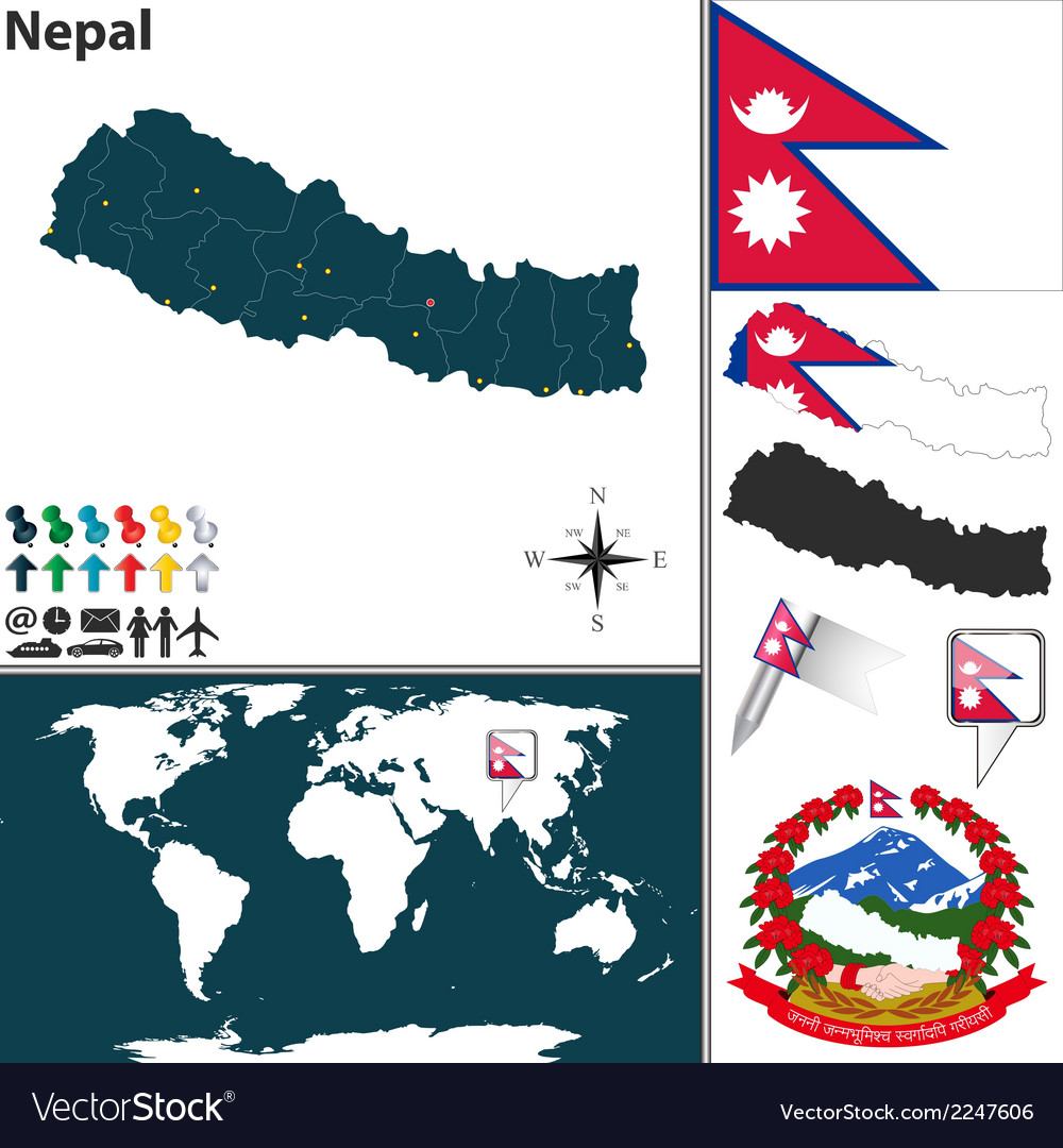 Nepal map vector | Price: 1 Credit (USD $1)