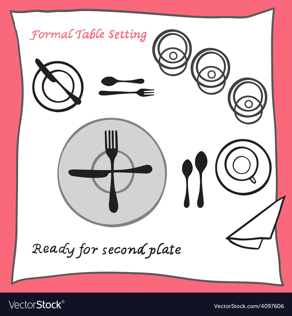 Ready for second plate dining table setting vector | Price: 1 Credit (USD $1)