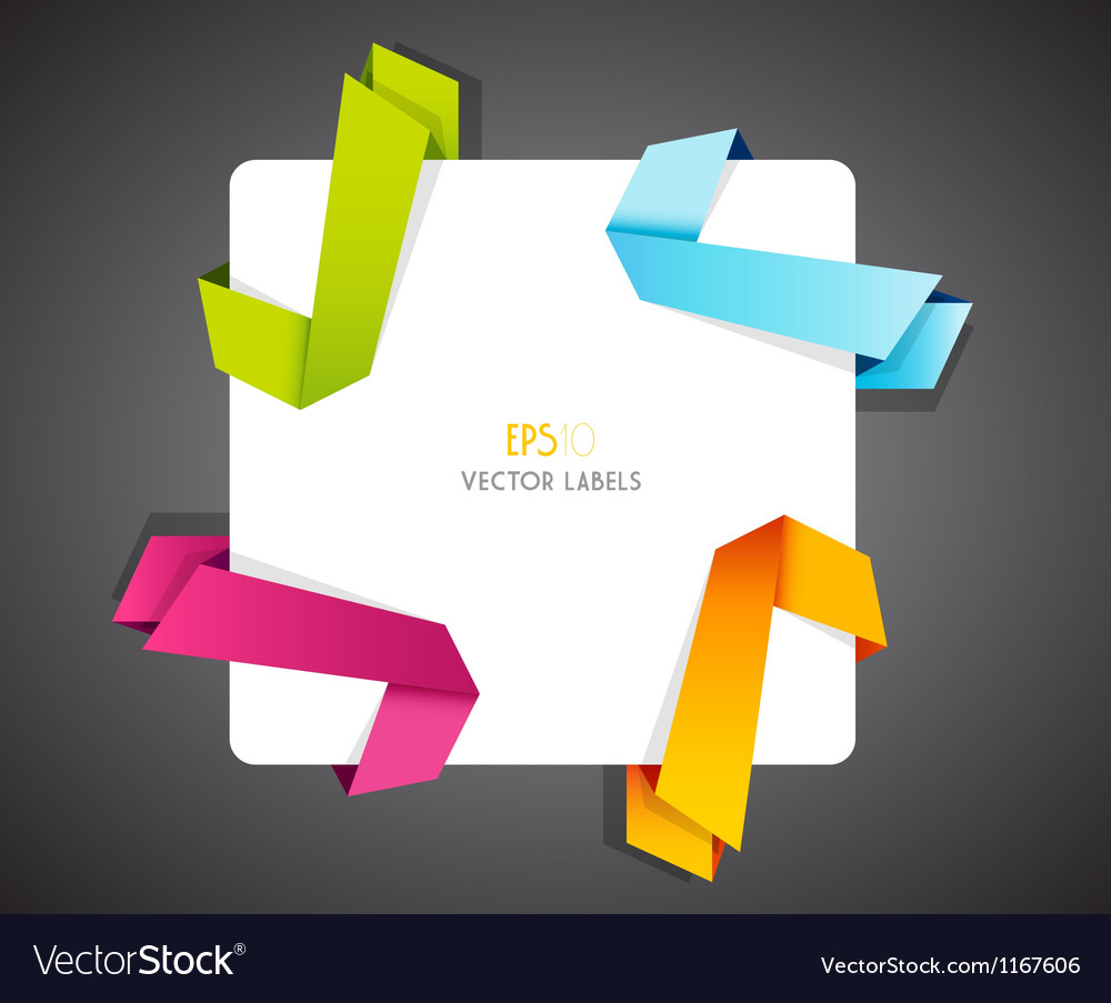 Set of colored ribbons in corner vector | Price: 1 Credit (USD $1)