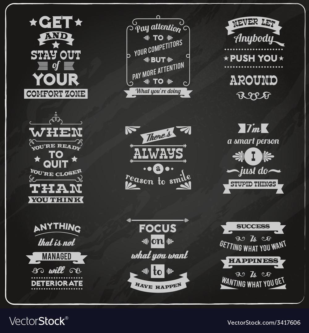Success quotes set chalkboard vector
