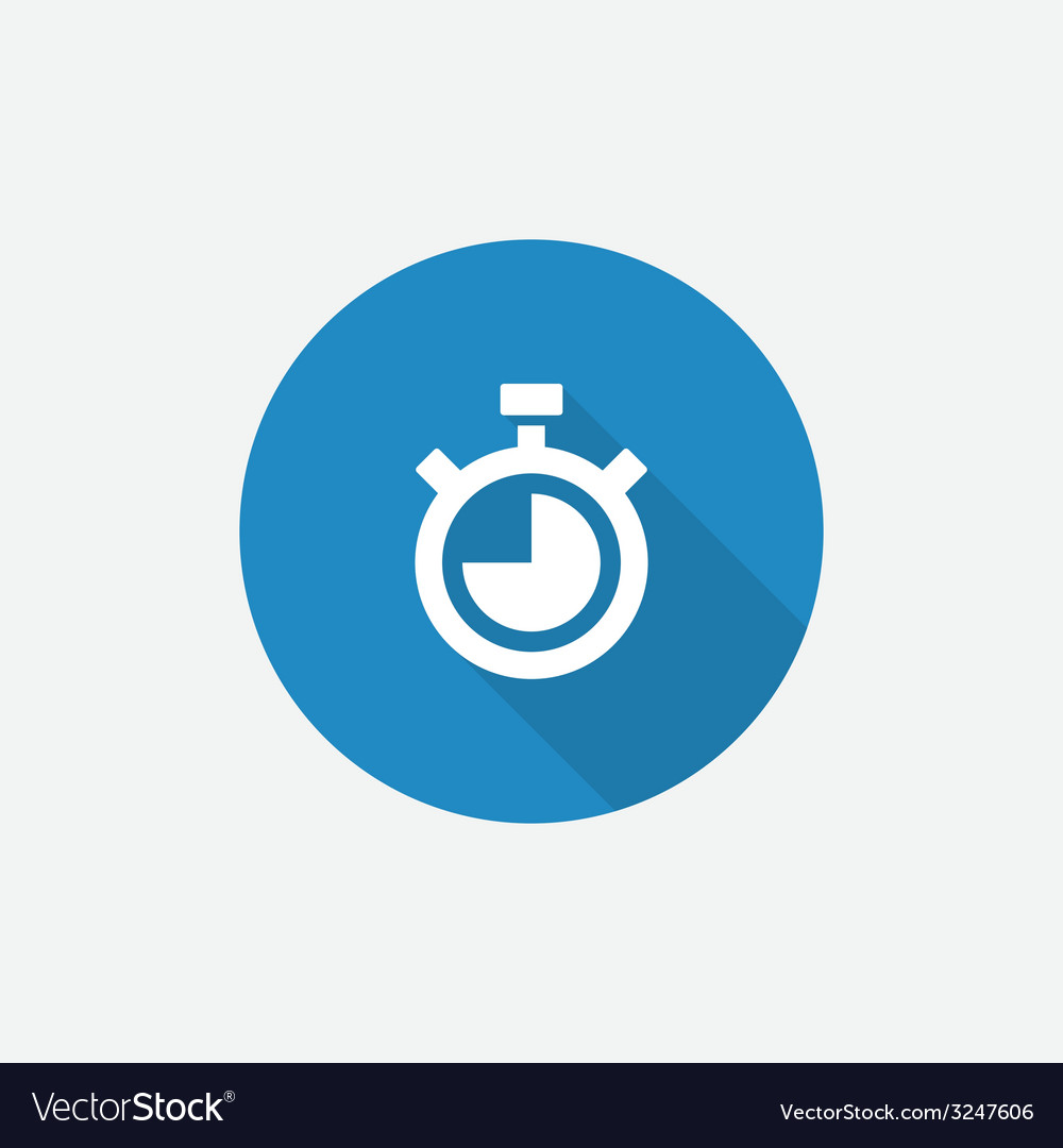 Timer flat blue simple icon with long shadow vector   Price: 1 Credit (USD $1)