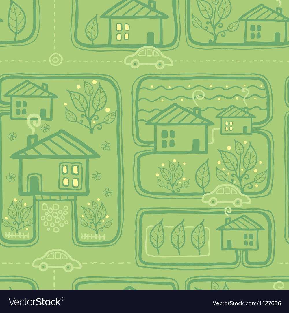 Town streets seamless pattern background vector | Price: 1 Credit (USD $1)