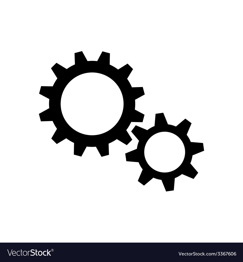 Two black gear wheels vector | Price: 1 Credit (USD $1)