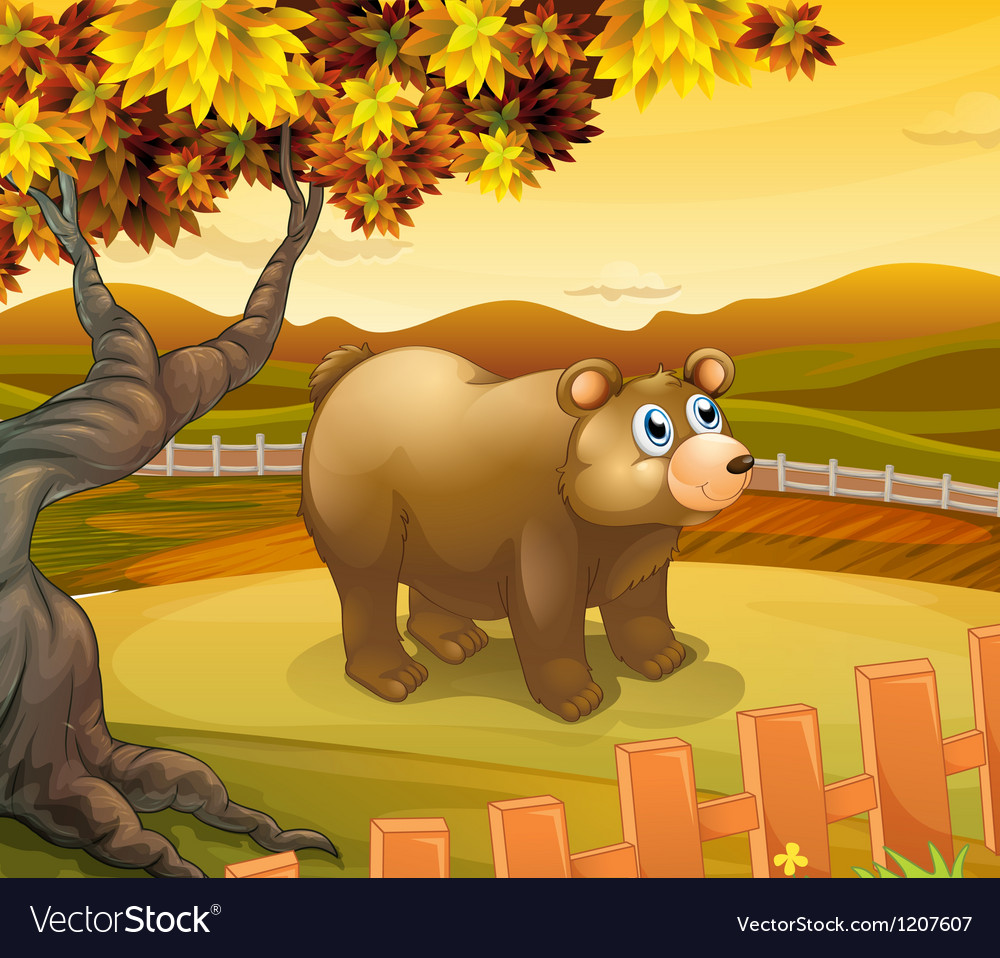 A big bear inside the fence vector | Price: 1 Credit (USD $1)