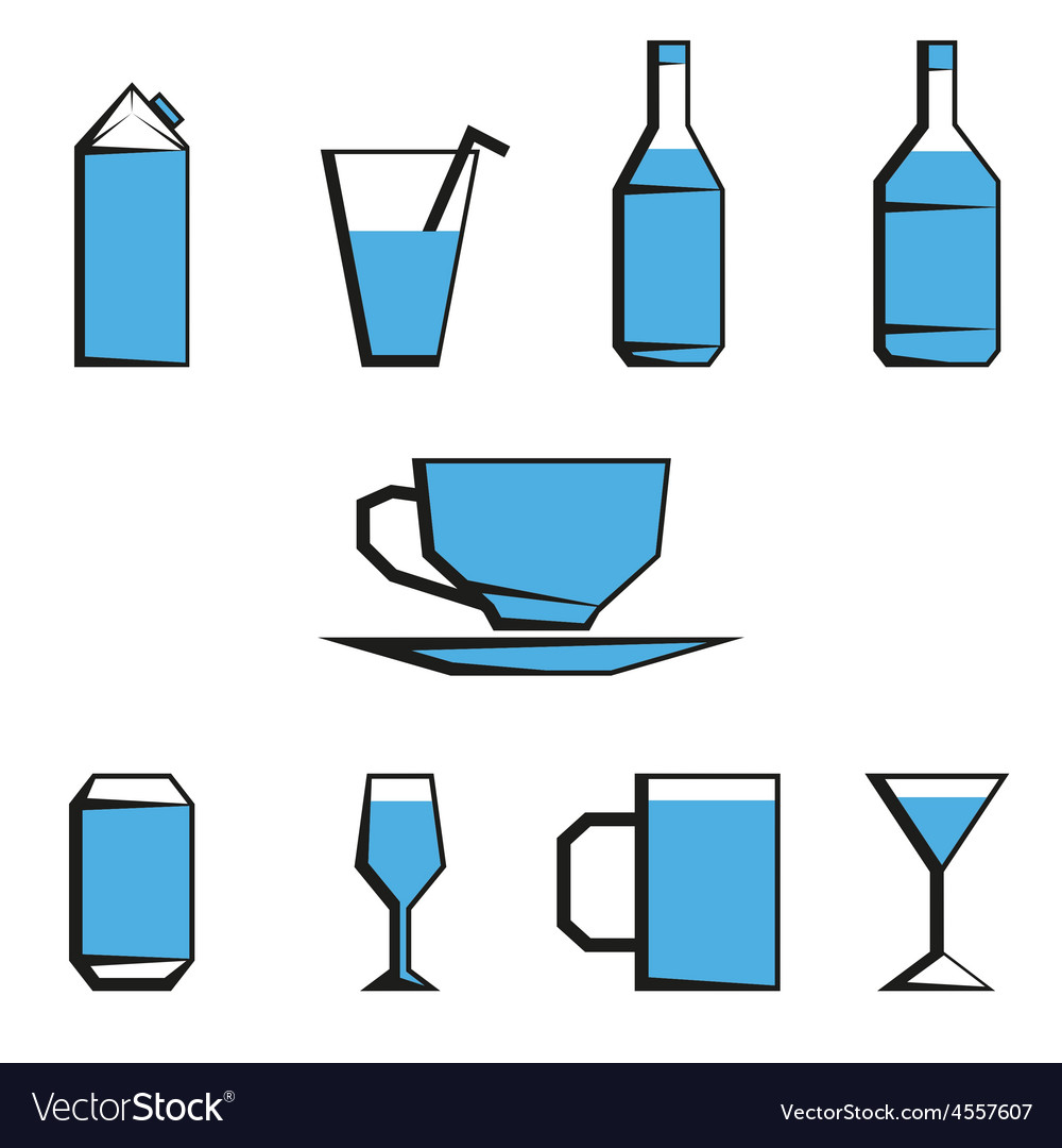 Beverages icon set vector | Price: 1 Credit (USD $1)