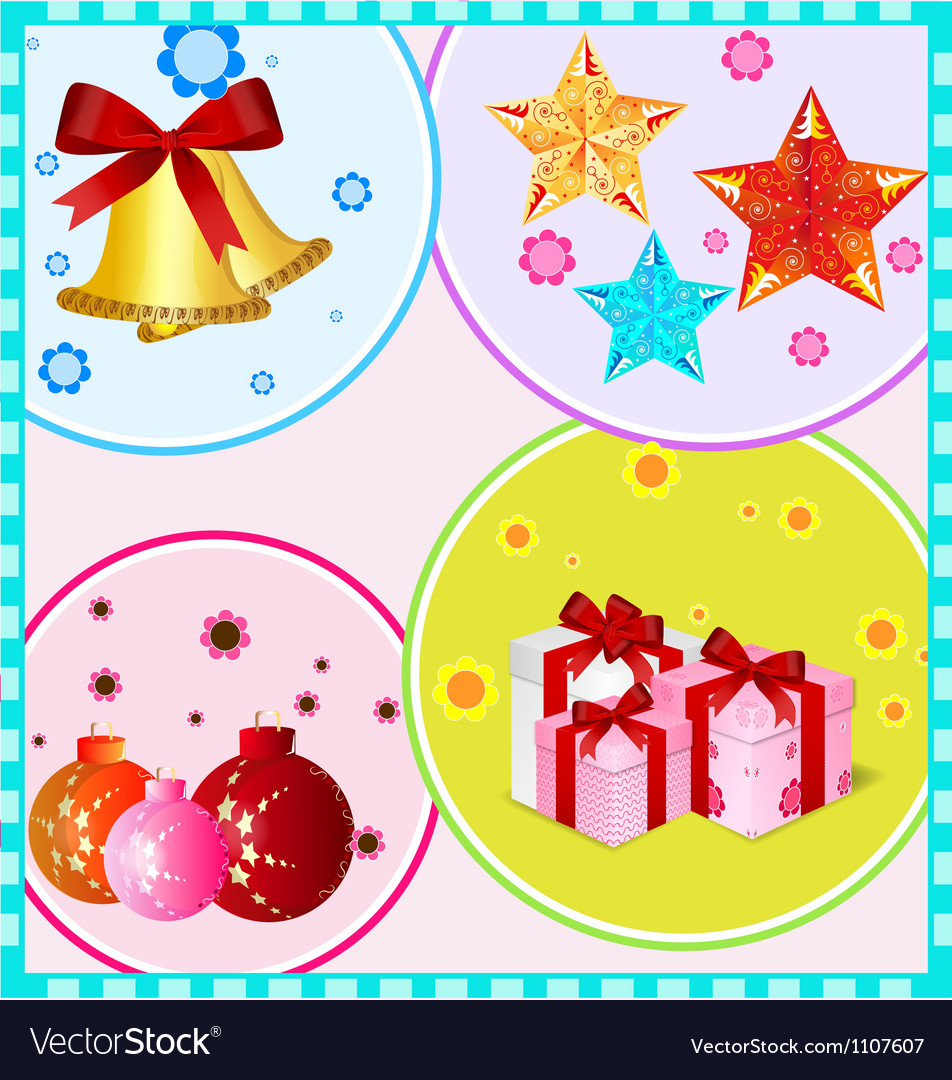 Christmas decoration items vector