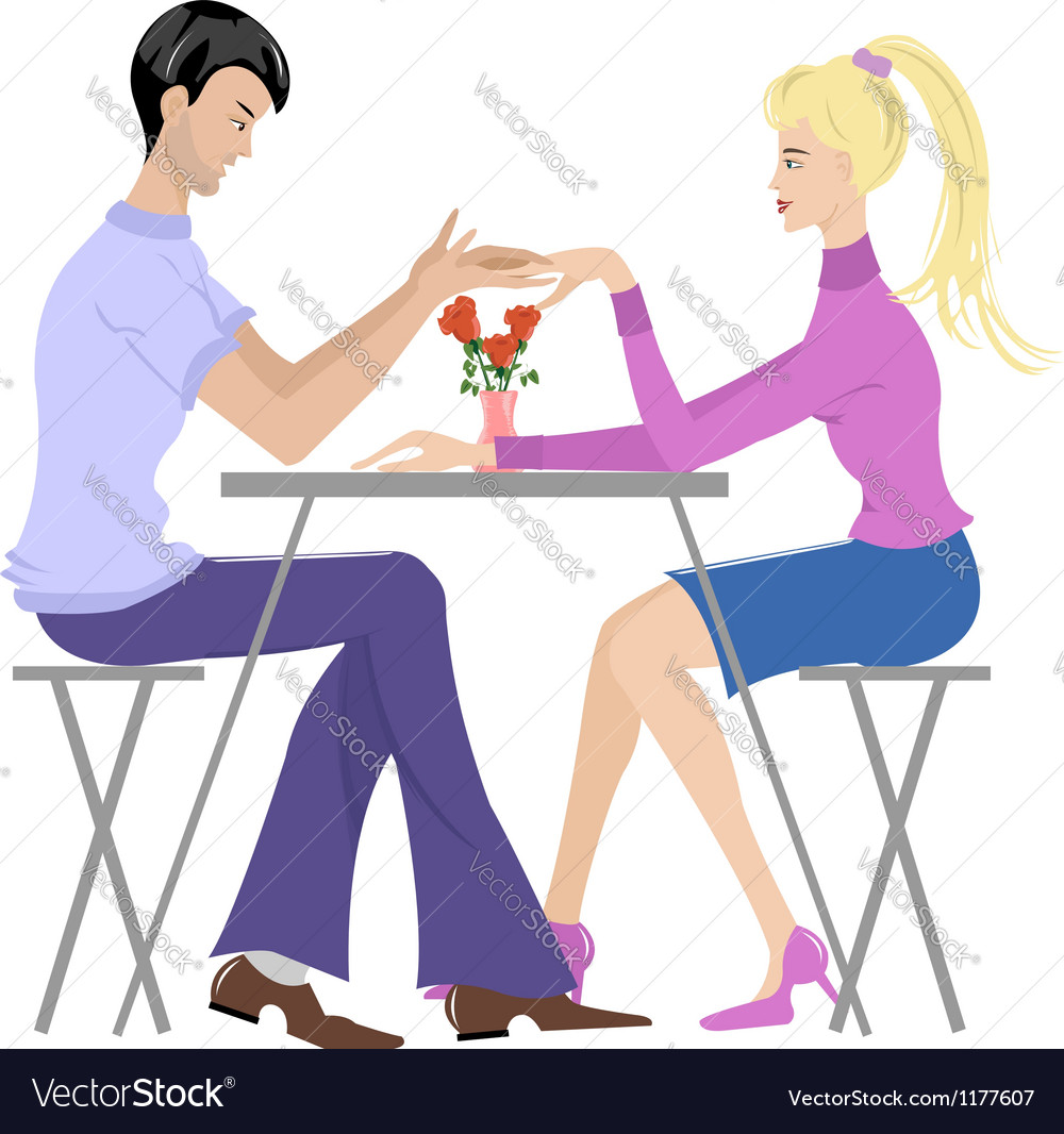 Couple in cafe vector | Price: 1 Credit (USD $1)