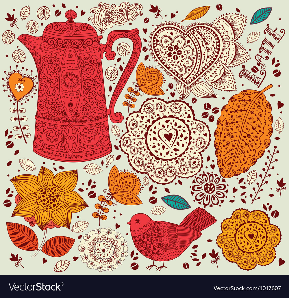 Decorative coffee background vector | Price: 1 Credit (USD $1)