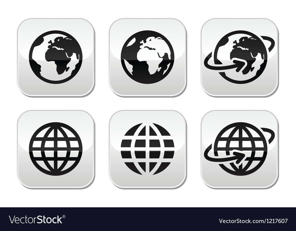 Globe earth buttons set vector | Price: 1 Credit (USD $1)