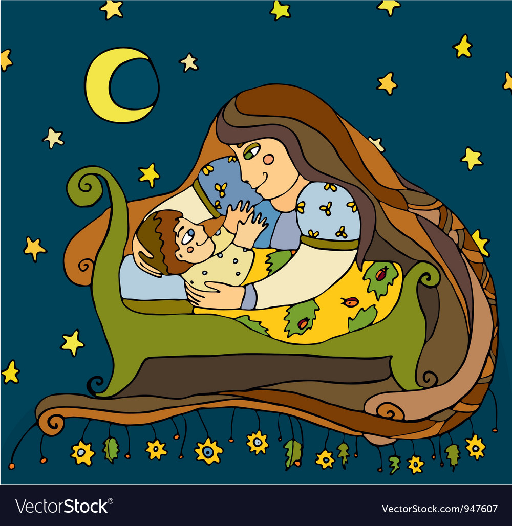 Mother son night vector | Price: 3 Credit (USD $3)
