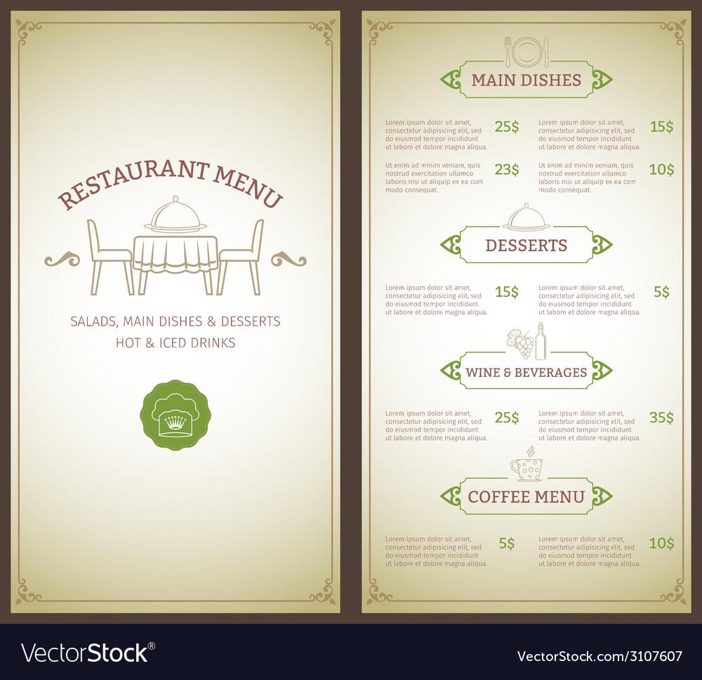 Restaurant menu template vector   Price: 1 Credit (USD $1)