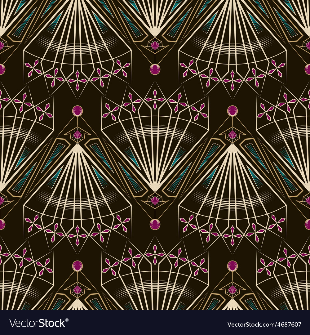 Seamless beautiful antique art deco pattern vector | Price: 1 Credit (USD $1)