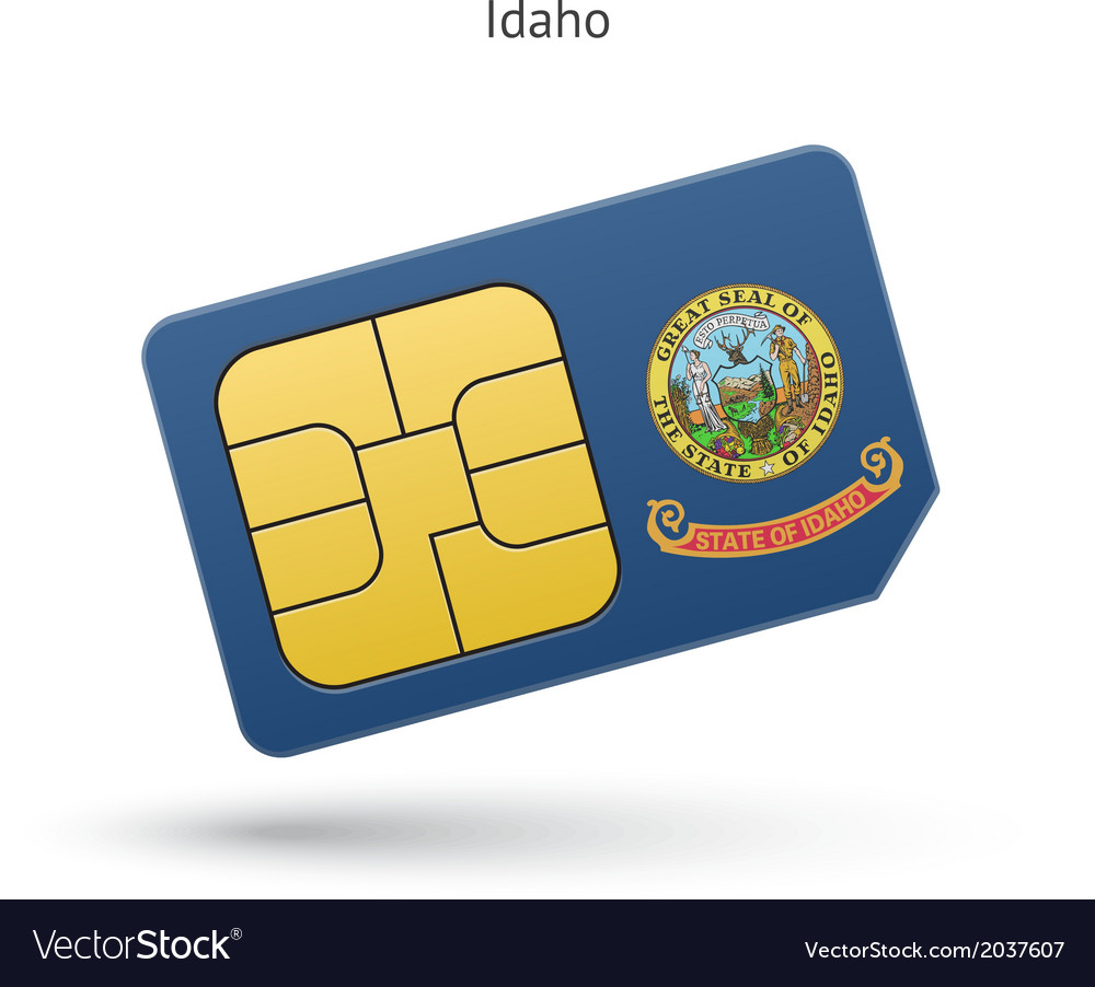 State of idaho phone sim card with flag vector | Price: 1 Credit (USD $1)