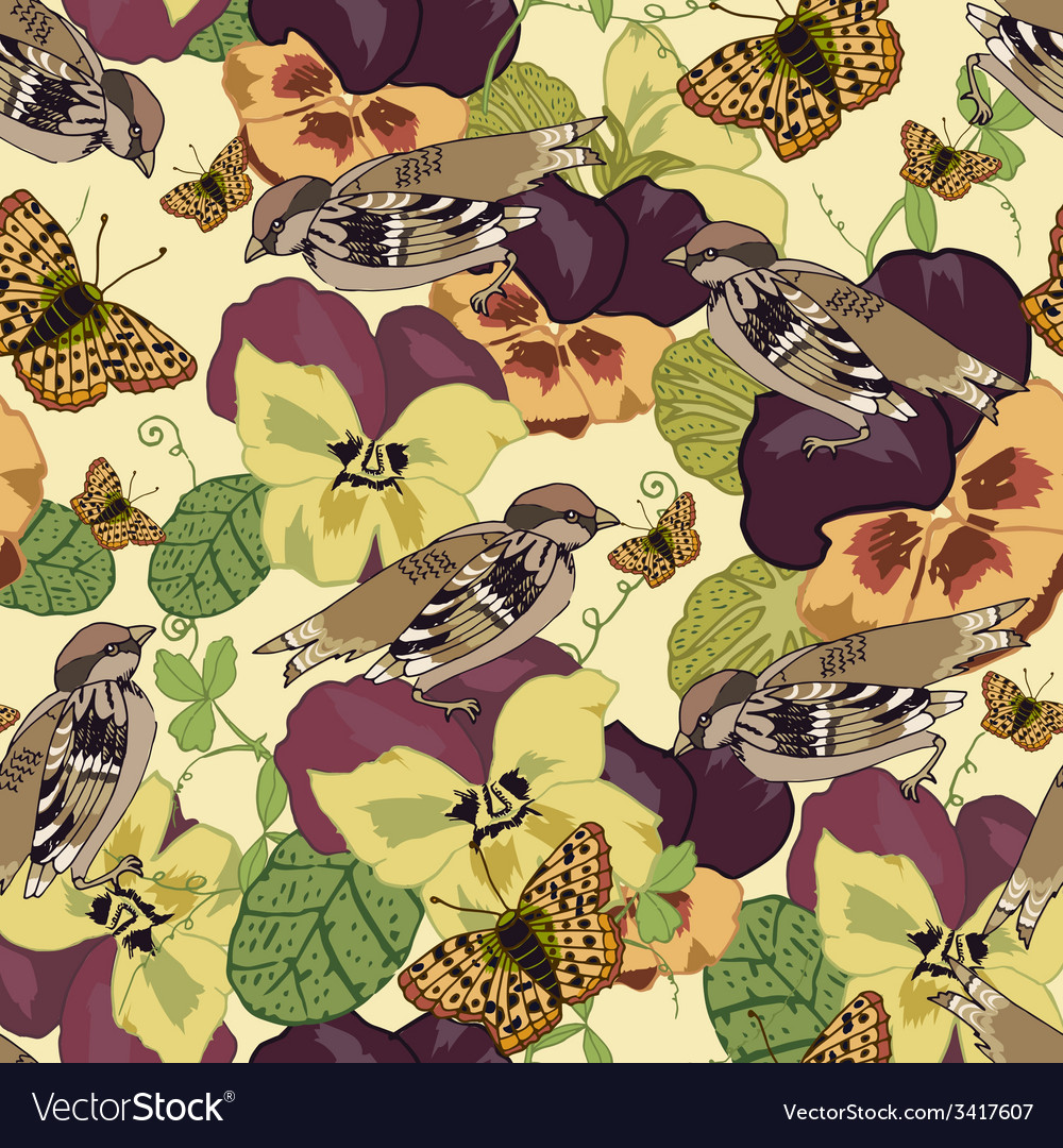 Vintage flowers seamless pattern vector | Price: 1 Credit (USD $1)
