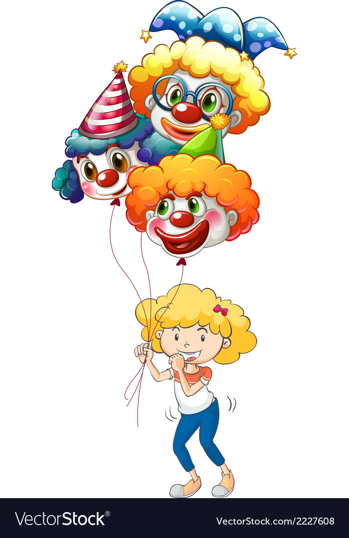 A happy young lady with three balloons vector | Price: 1 Credit (USD $1)