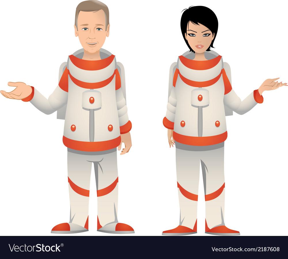 Astronauts male female vector | Price: 1 Credit (USD $1)