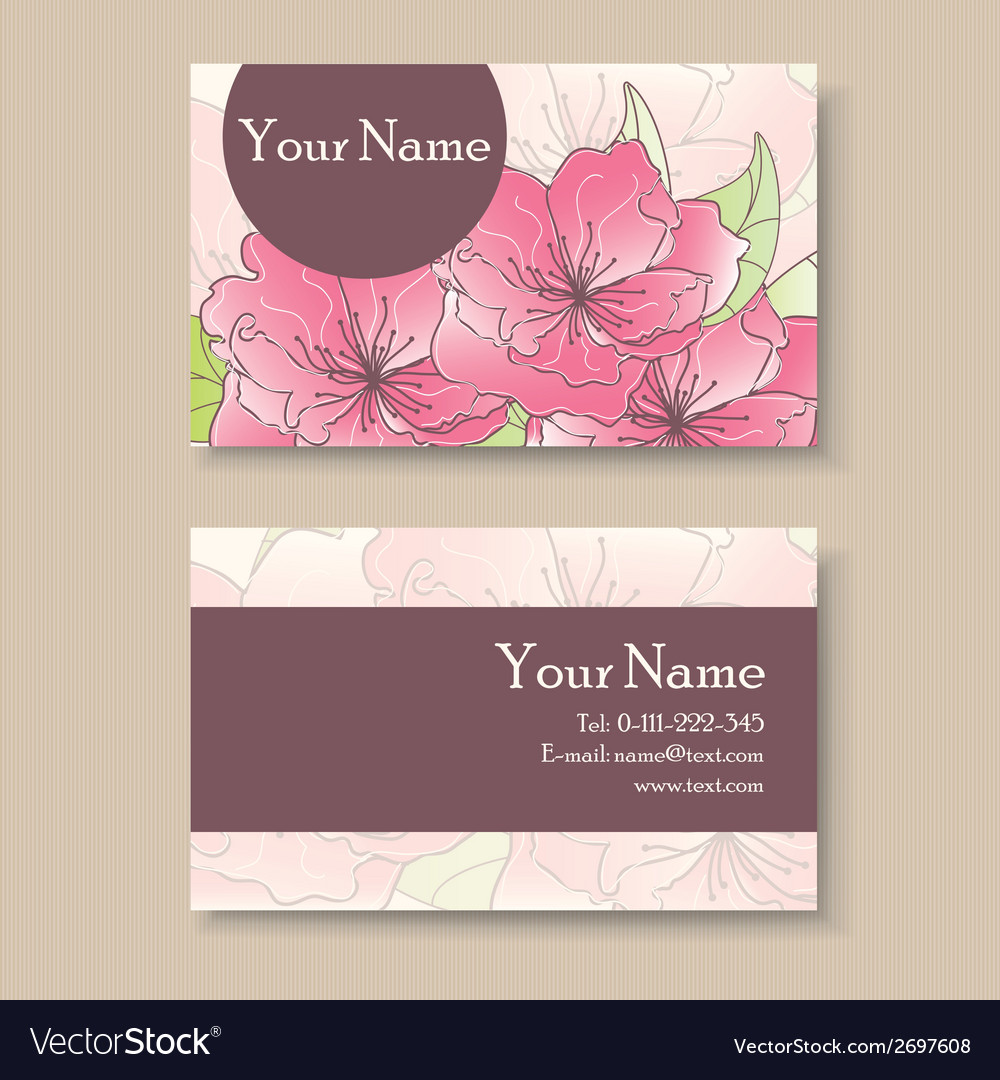 Business card with pink flowers vector | Price: 1 Credit (USD $1)