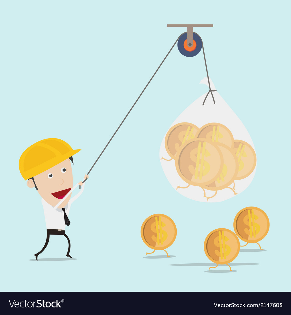 Business man use the rope pull money vector | Price: 1 Credit (USD $1)