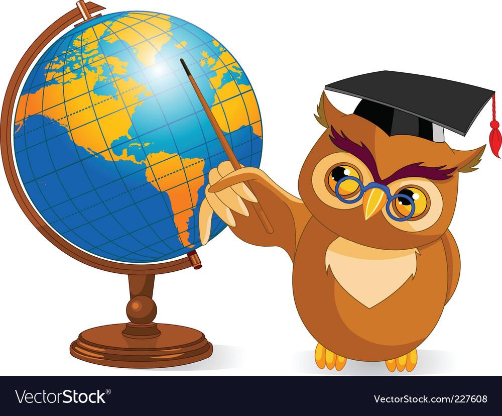 Cartoon wise owl with world globe vector