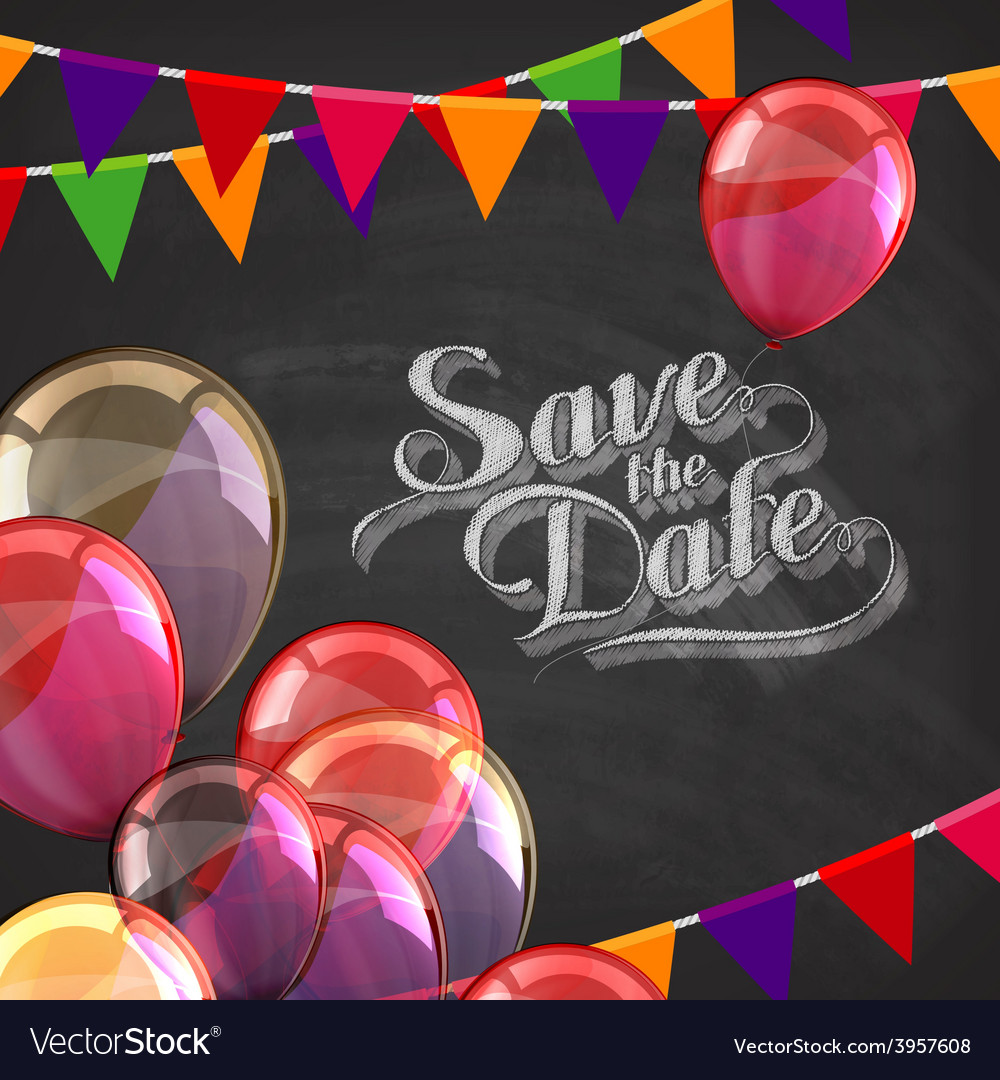 Chalk of save the date label with vector   Price: 3 Credit (USD $3)