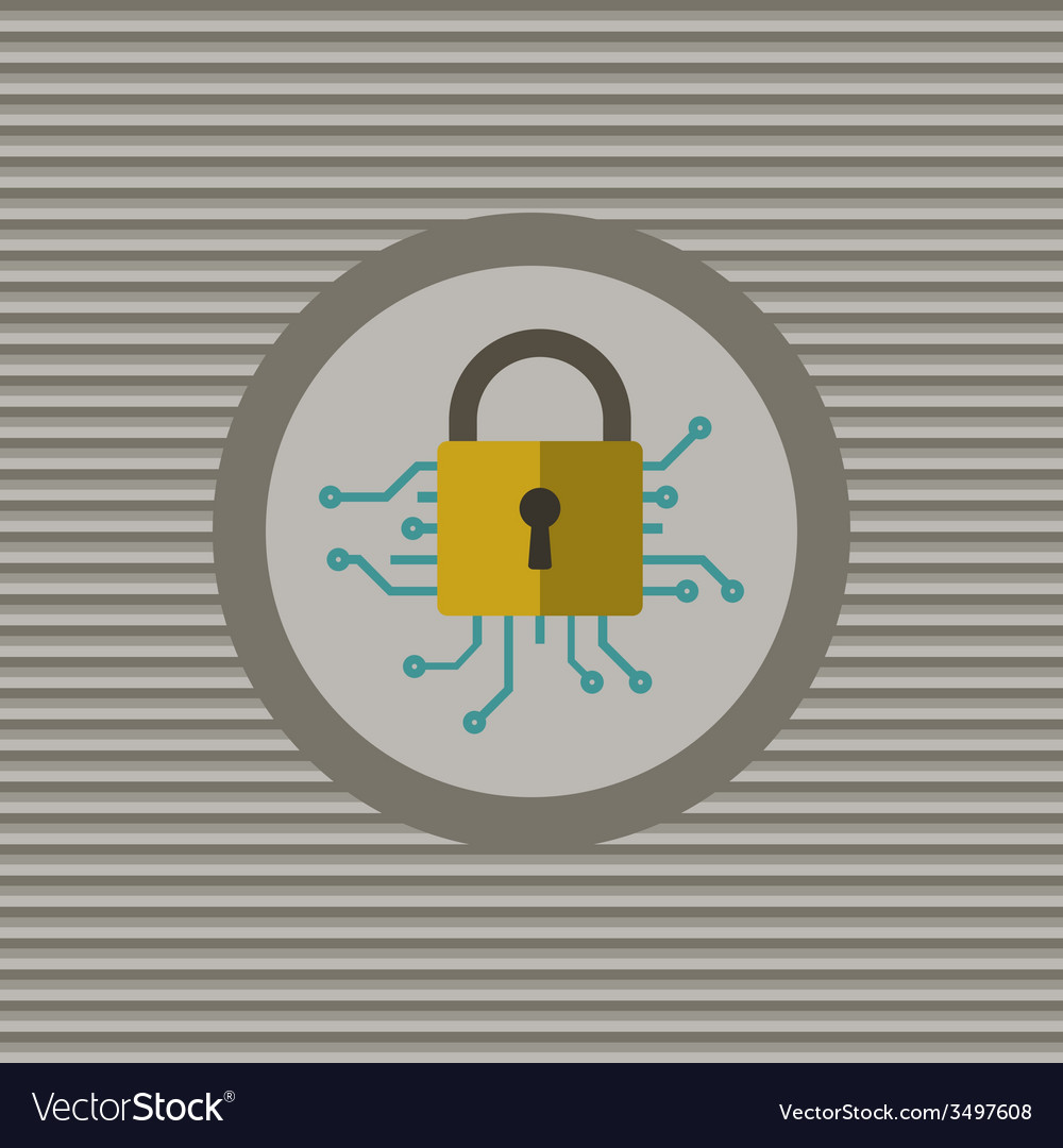 Cyber security flat icon vector | Price: 1 Credit (USD $1)