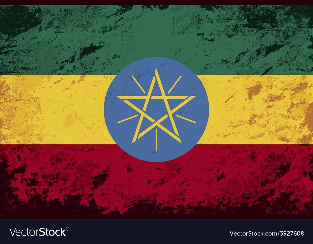 Ethiopian flag grunge background vector | Price: 1 Credit (USD $1)