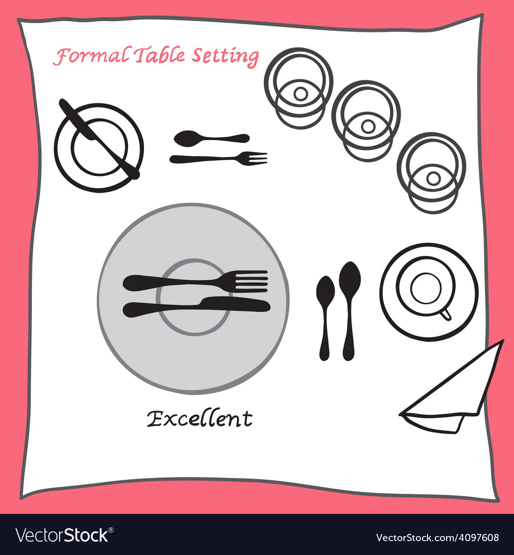 Excellent dining table setting proper arrangement vector | Price: 1 Credit (USD $1)