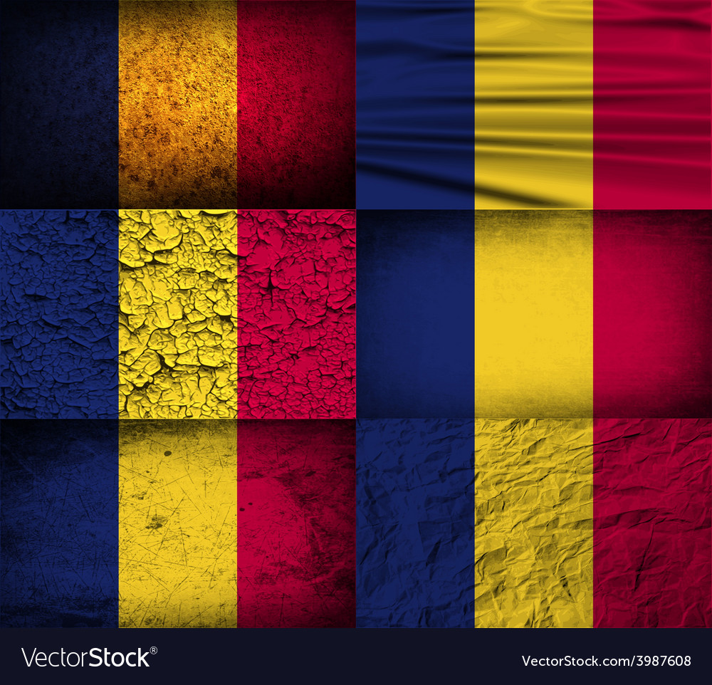 Flag of chad with old texture vector | Price: 1 Credit (USD $1)
